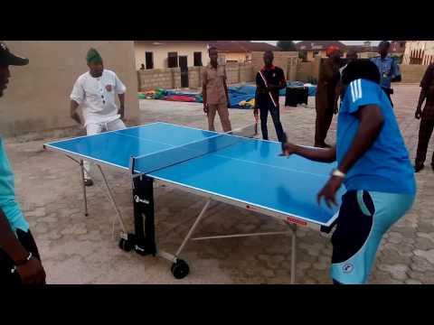 Oluwo of Iwoland Playing Table Tennis
