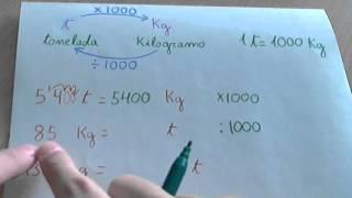 Toneladas, kilo y gramo (peso o masa)