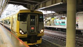 特急新宿さざなみ1号館山行きE257系9041MNB-17がJR新宿駅を発車!中央本線回送E353系S210+S101と回送253系OM-N02、中央線快速東京行きE233系610H青666が到着!