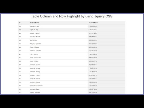 Table Column and Row Highlight by using Jquery CSS