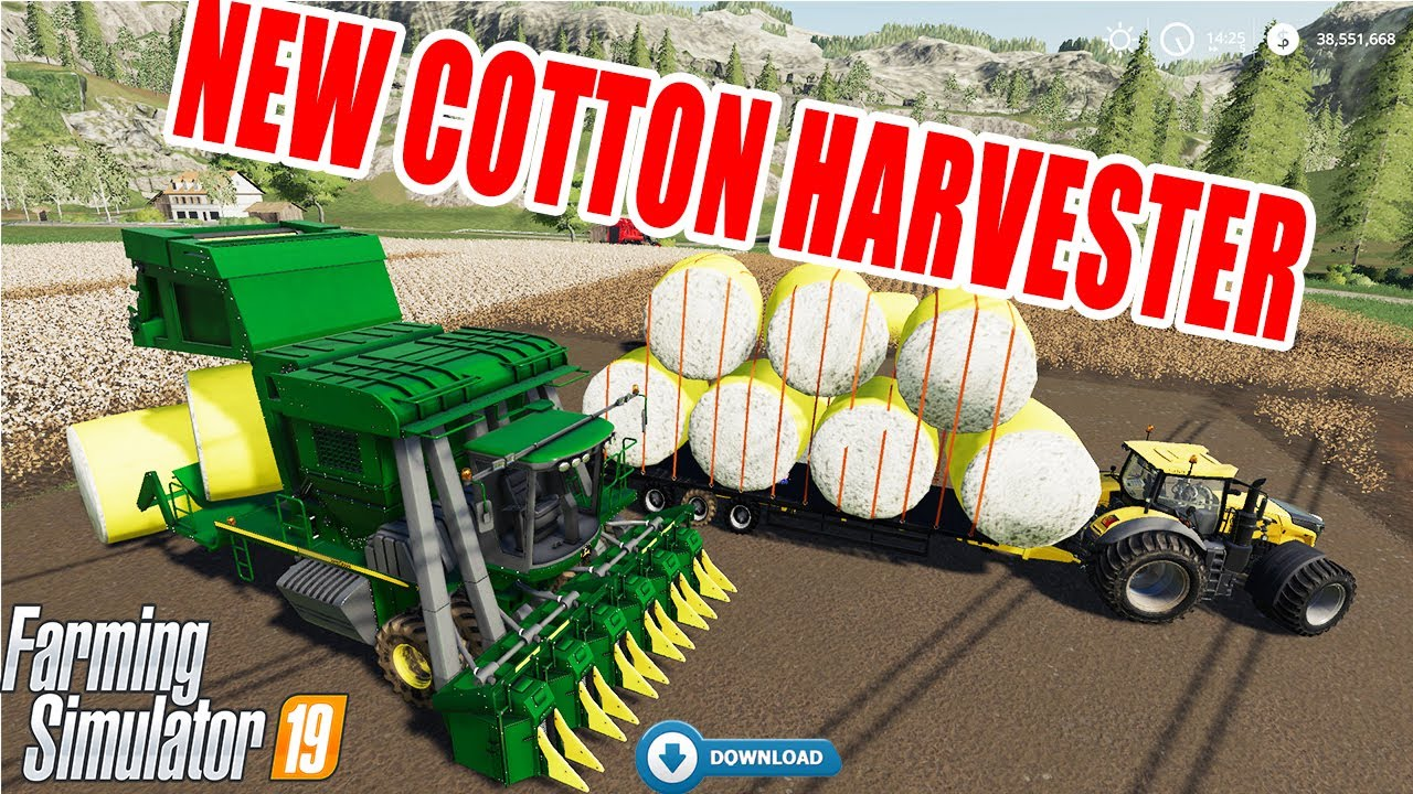 Farming Simulator 19: NEW COTTON HARVESTER!! JOHN DEERE BALER MOD!