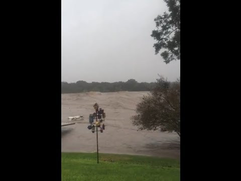 Incredible Flooding in Colorado River (LBJ Lake), Marble Falls, TX (Oct 16, 2018)