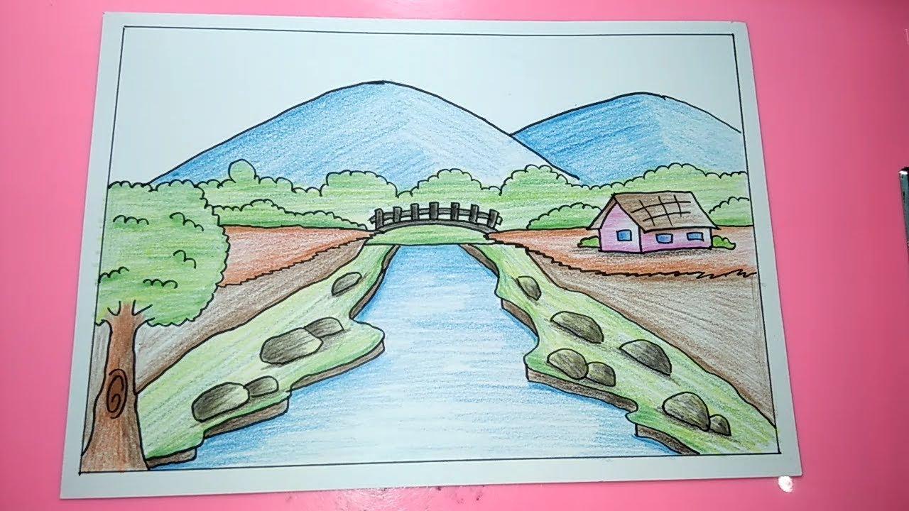 Cara Menggambar Dan Mewarnai Pemandangan Alam Gunung Sungai