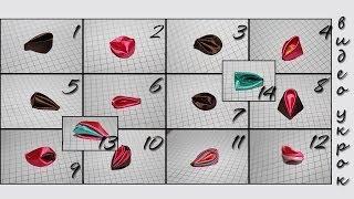 Мастер класс Виды Круглых Лепестков Канзаши (14 вариантов) / Petals Kanzash