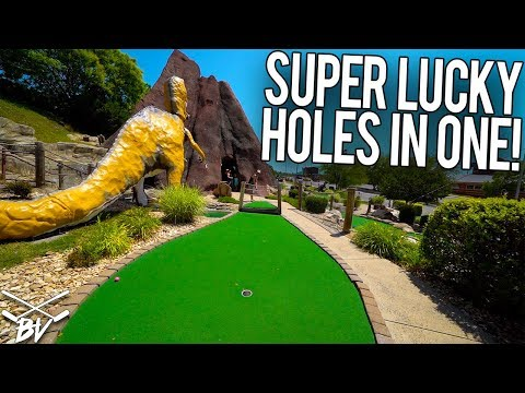 GETTING SUPER LUCKY MINI GOLF HOLES IN ONE TODAY!