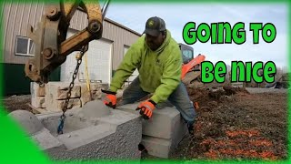 Building a retaining wall with new style decorative stacking blocks #looksnice