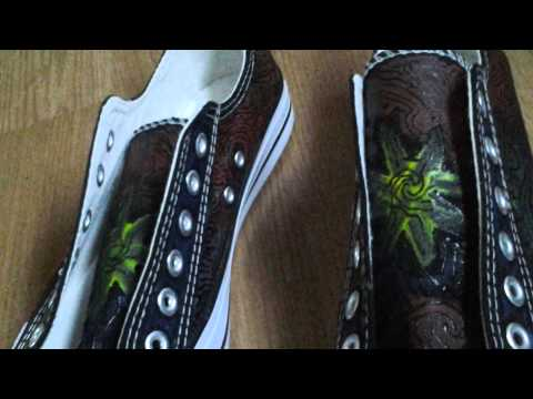 Inca shoes hand painted (art)
