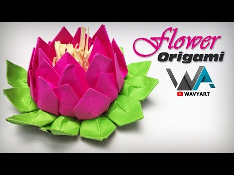Beautiful Origami Lotus   DIY Flower Paper Craft   Wavy Art