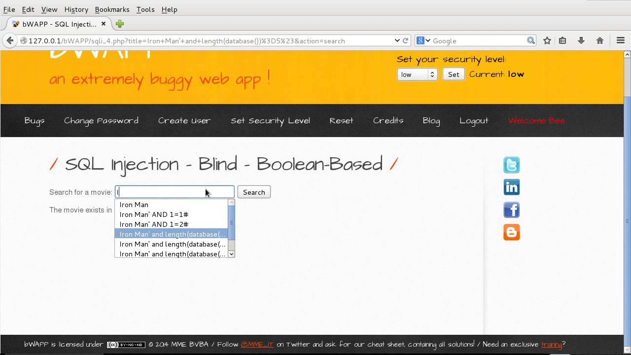 [bWAPP] Boolean Blind SQL Injection Explotiting