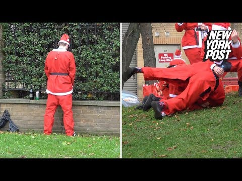 London's SantaCon has drunk Bad Santas brawling and peeing in public | New York Post