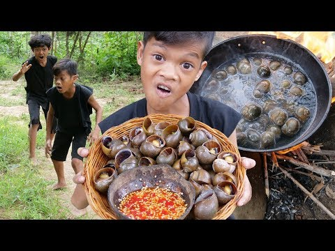 Survival Skills Primitive - Cooking snail and eating delicious ep006