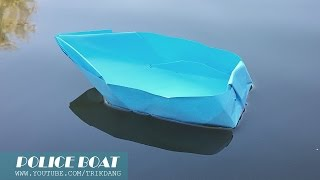 How to Make an Origami Boat - Paper Boat that Floats on Water - Police Boat / Cano