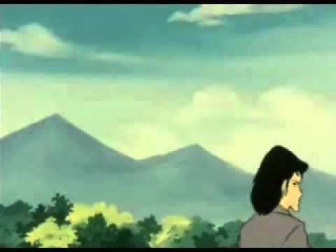 Goemon shoves a yam in Fujiko's mouth