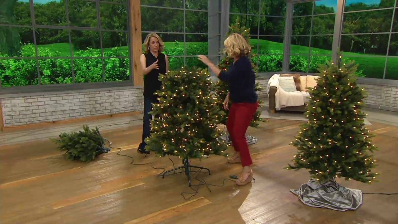 bethlehem lights noble spruce tree w swift lock multi functions on qvc