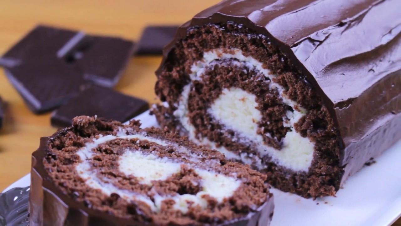 Gâteau roulé au chocolat - YouTube