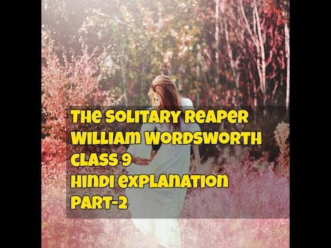 solitary reaper summary each stanza