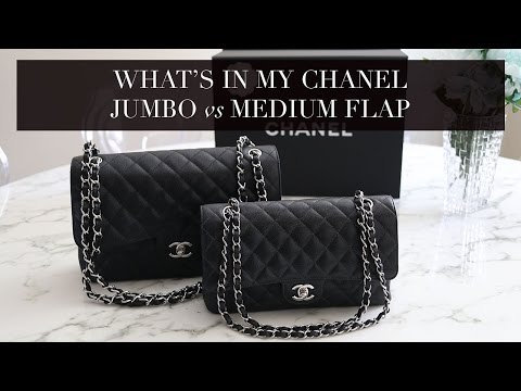 What's In My Bag Chanel Jumbo Classic Flap VS Chanel Medium/Large Classic Flap