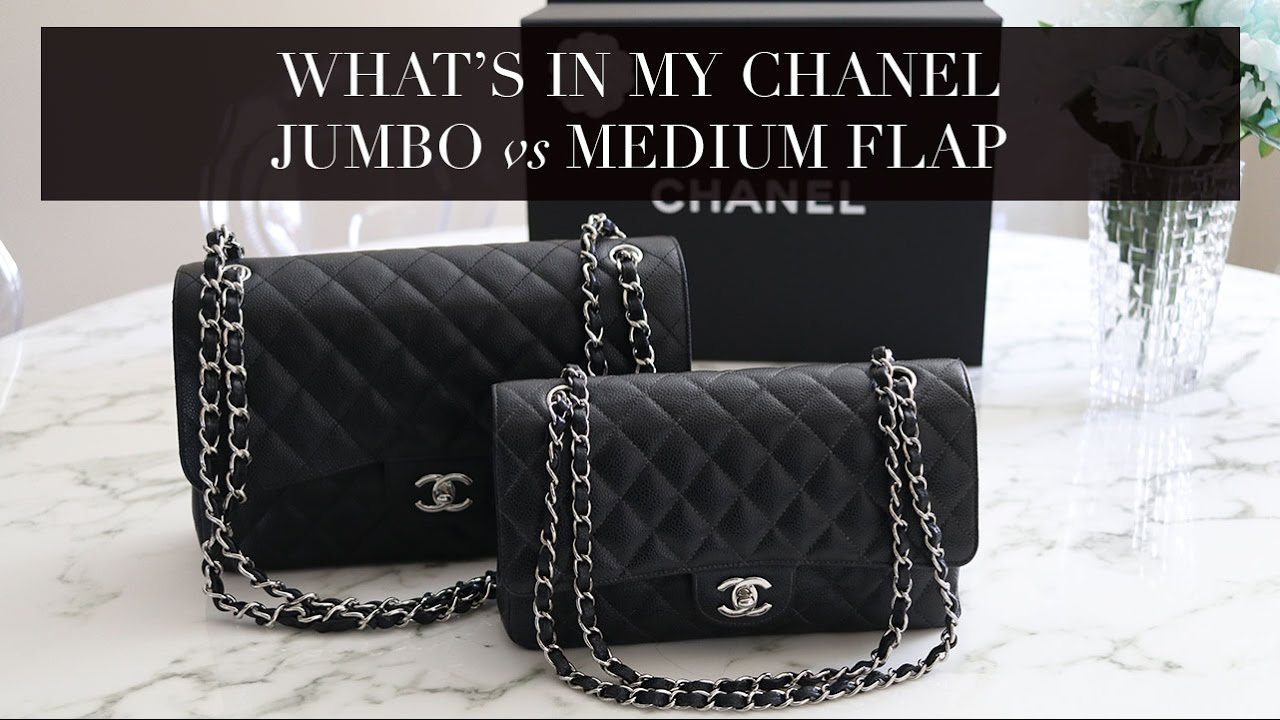 295ecf4cb4f5f1 What's In My Bag Chanel Jumbo Classic Flap VS Chanel Medium/Large Classic  Flap