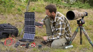 HOW I CHARGE MY BATTERIES WHEN WILD CAMPING | Solar panels to charge camera batteries, drone, laptop
