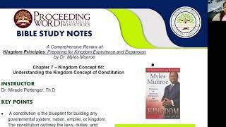 2020_1112 PWAM Bible Study: Kingdom Principles - Chapter 7 - KINGDOM CONSTITUTION - Part 1