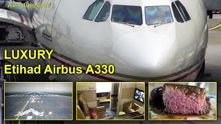 Etihad A330 Business Class + First Class views Düsseldorf - Abu Dhabi! [AirClips full flight series]
