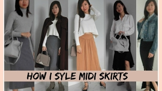 HOW I STYLE MIDI SKIRTS |  6 SIMPLE OUTFIT STYLE WITH BAGS | ARITZIA, ZARA, MELI MELO...