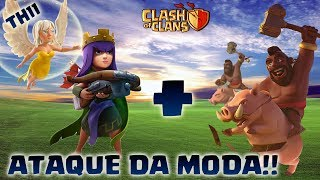 QUEENWALK+CORREDORES: NOVO ATAQUE DA MODA NO CV11!!! - CLASH OF CLANS 2017