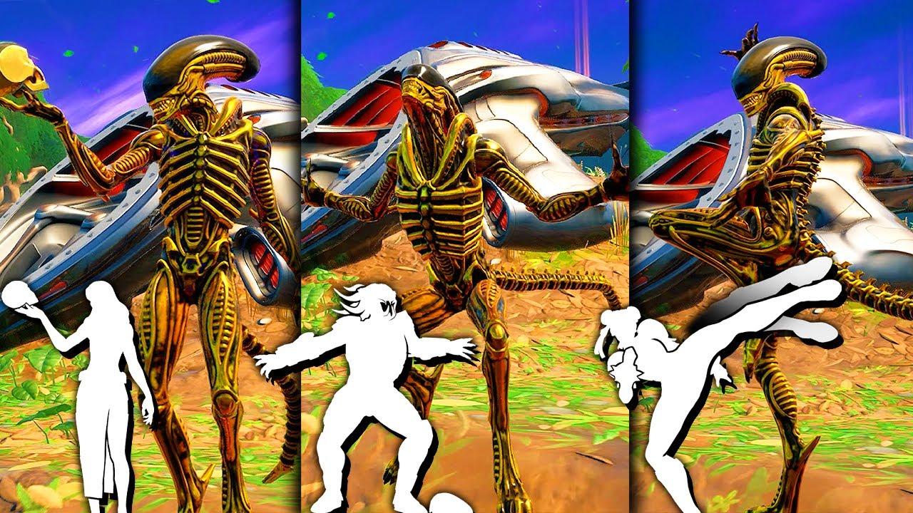 Golden Alien Xenomorph Fortnite doing all Built-In Emotes inGame!..