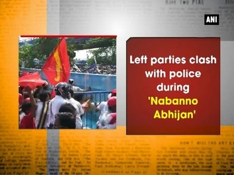Left parties clash with police during 'Nabanno Abhijan' - West Bengal News