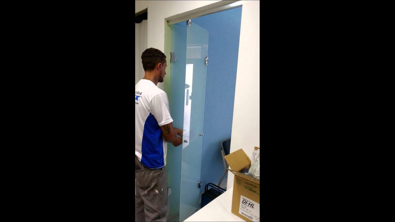 Conhecido Porta articulada (2 folhas), vidro temperado , porta camarão - YouTube IO48