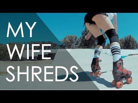 SKATE PARK SESSION WITH MY WIFE ON ROLLER SKATES // VLOG 187