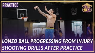 Lakers Practice: Lonzo Ball Shooting Drills After Practice, Progressing from Injury