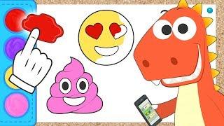 Aprende con Eddie cómo colorear emojis 😍😈💩 Eddie el dinosaurio colorea emoticonos