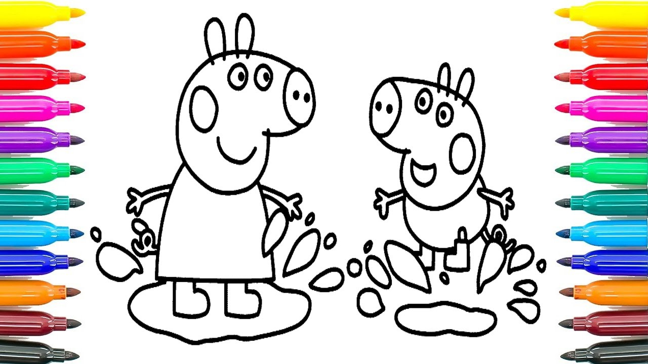 Peppa Pig Coloring George And Peppa Are Playing Coloring Pages