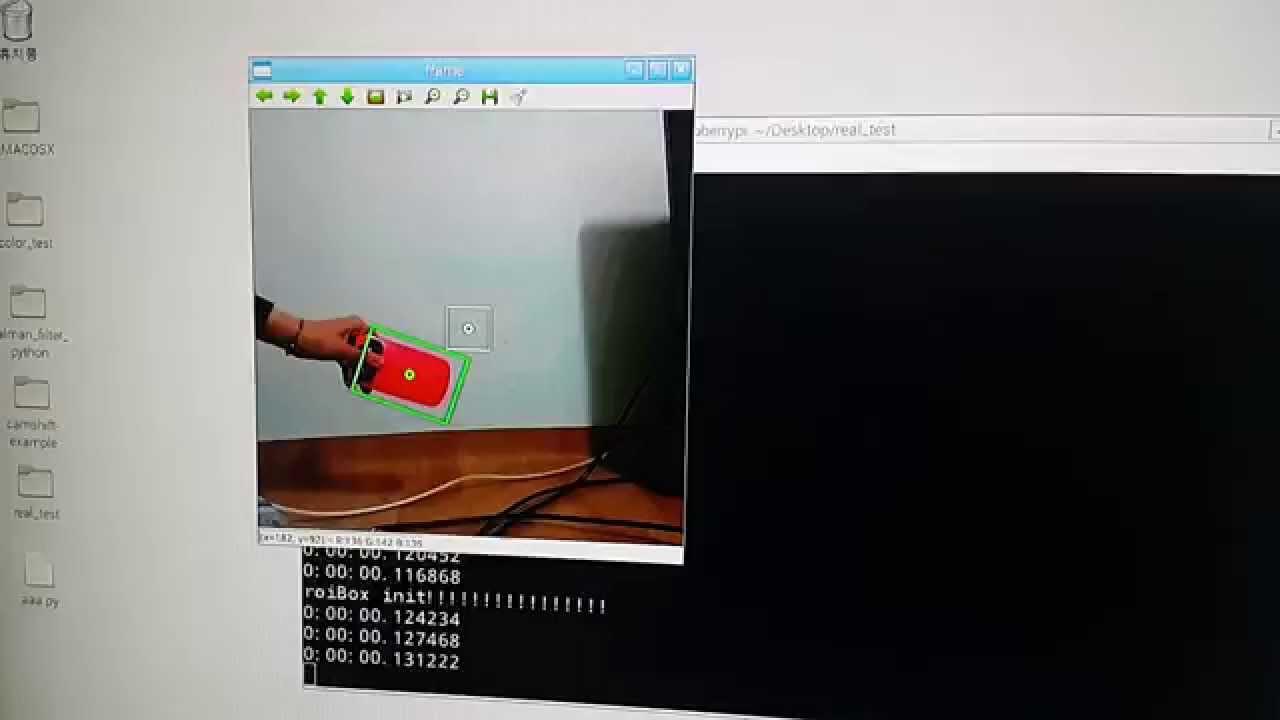 Camshift + Kalmanfilter with OpenCV & python on RaspberryPi B2
