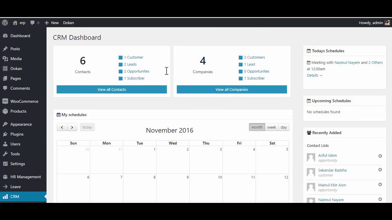 WP ERP - CRM - Overview of the CRM landing page - YouTube