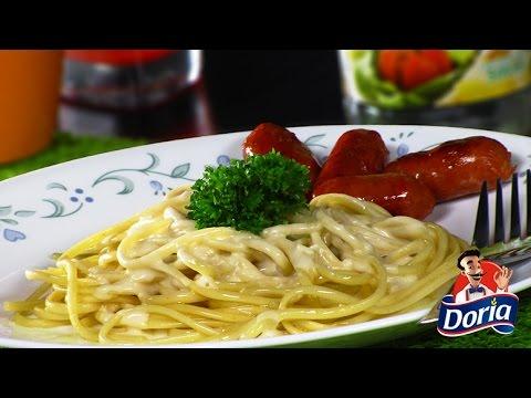 Spaghetti Huevo Doria en Salsa de Queso