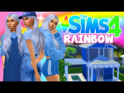 💙RAINBOW SIMS CAS Challenge! BLUE outfits + tiny house!