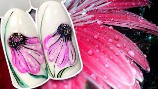 🌼 Акварельная Ромашка с Каплями Росы и бульонками 🌼 Цветочный Летний дизайн для маникюра Patrisa