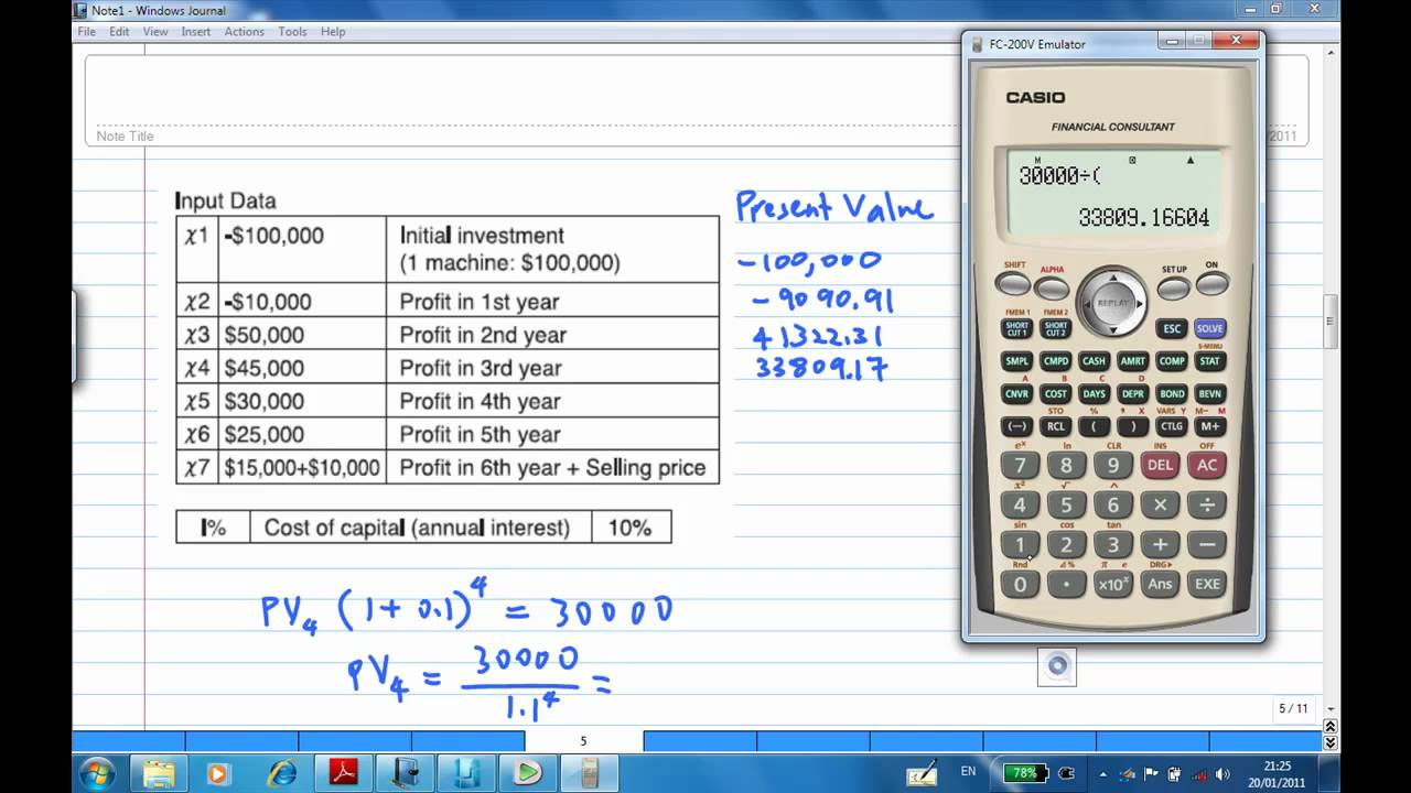net present value with casio financial calculator example