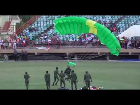 GUYANA ARMY AIR SHOW- SOLDIERS PARACHUTING at NATIONAL STADIUM.-2014.
