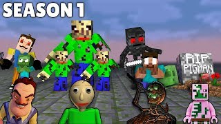 Monster School: SEASON 1 FULL EPISODE HEROBRINE BROTHERS -Minecraft Animation