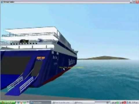 (virtual sailor)Greek ships Blue star ithaki in port naxos.wmv