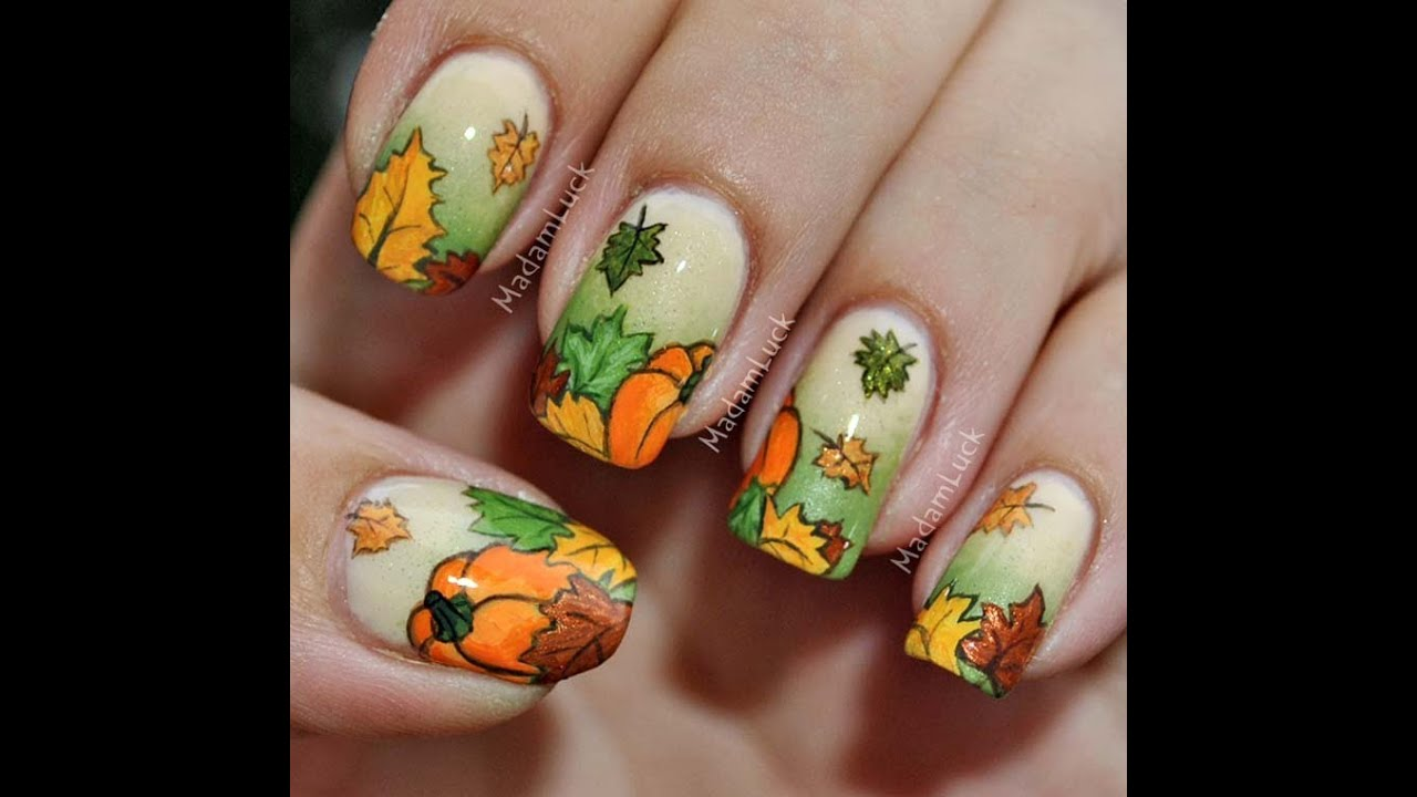 Autumn Leaves and Pumpkins nail art - YouTube