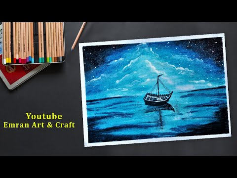 Beautiful Acrylic painting of Moonlight night sky with a lonely Boat Tutorial#27