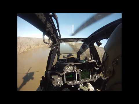 Ah-64 Apache Helicopter Flying low, Engages Snipers, Battle Damage