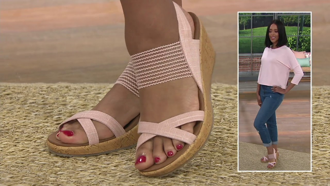 be3e108e0e1 Skechers Sling Back Stretch Wedges - Beverlee High Tea on QVC - YouTube