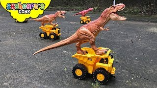 DINOSAURS VS TODDLER: Nerf War Part 3 | Skyheart and Daddy defeats dinosaur toys for kids