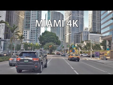 Driving Downtown - Miami's Millionaire Row - Miami Florida USA