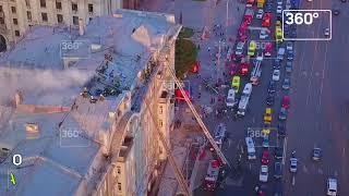 Горящее в центре Москвы здание сняли с коптеров